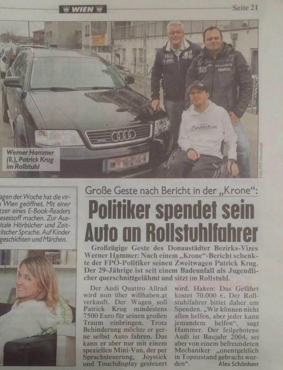 Kronen Zeitung Patrick Krug Spende Politiker